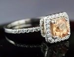 Engagement Ring Style 2.55 Ct Orange Diamond Cushion Shape Sterling Silver Solitaire
